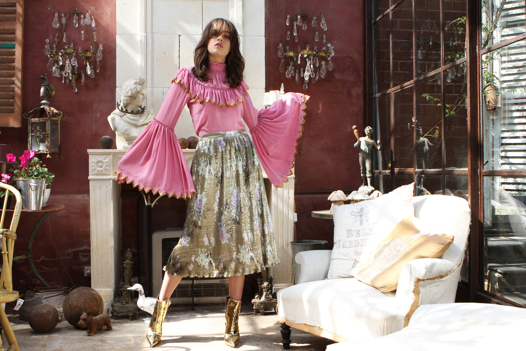 Pleated Skirt in Gold Chinoiserie