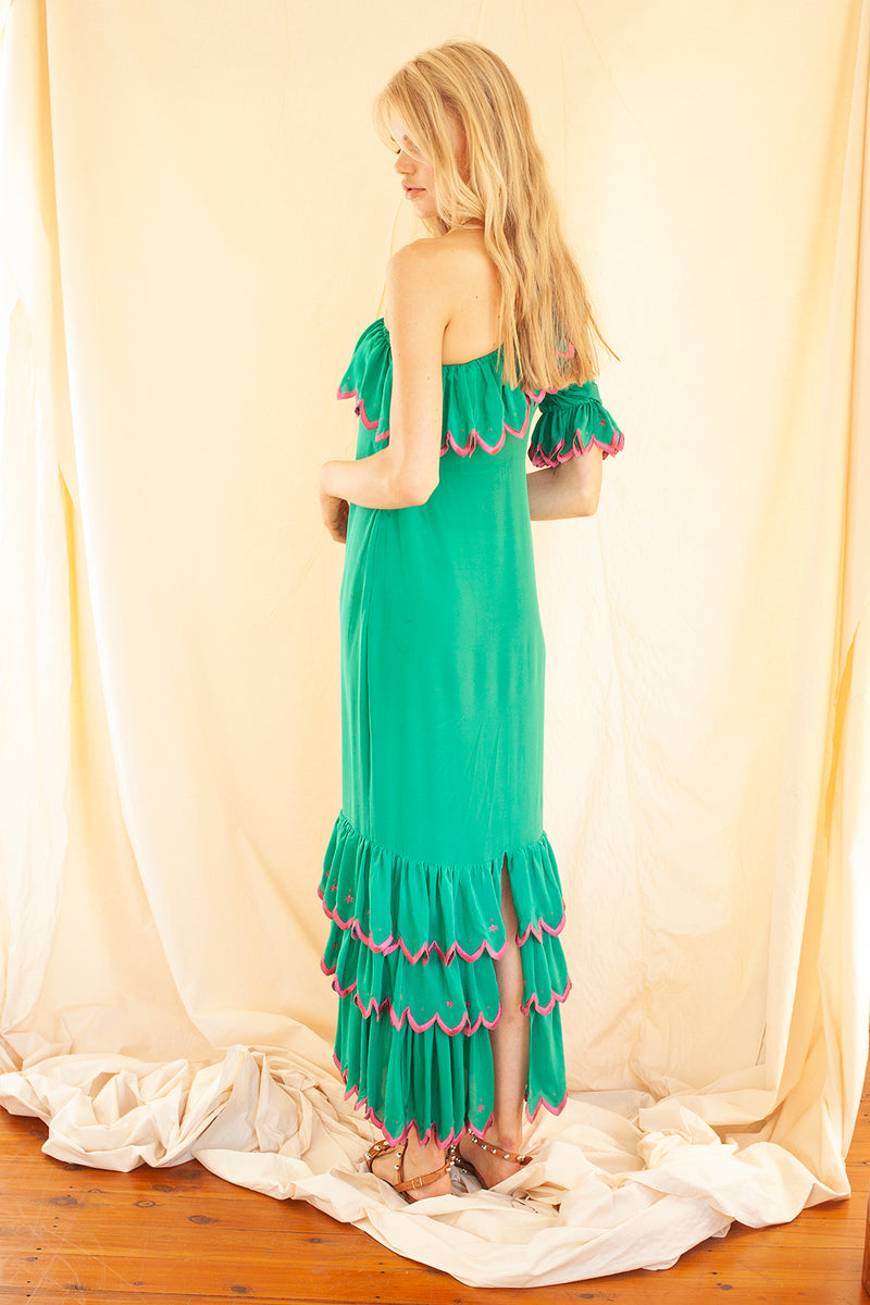 Long Ruffle Dress in Emerald