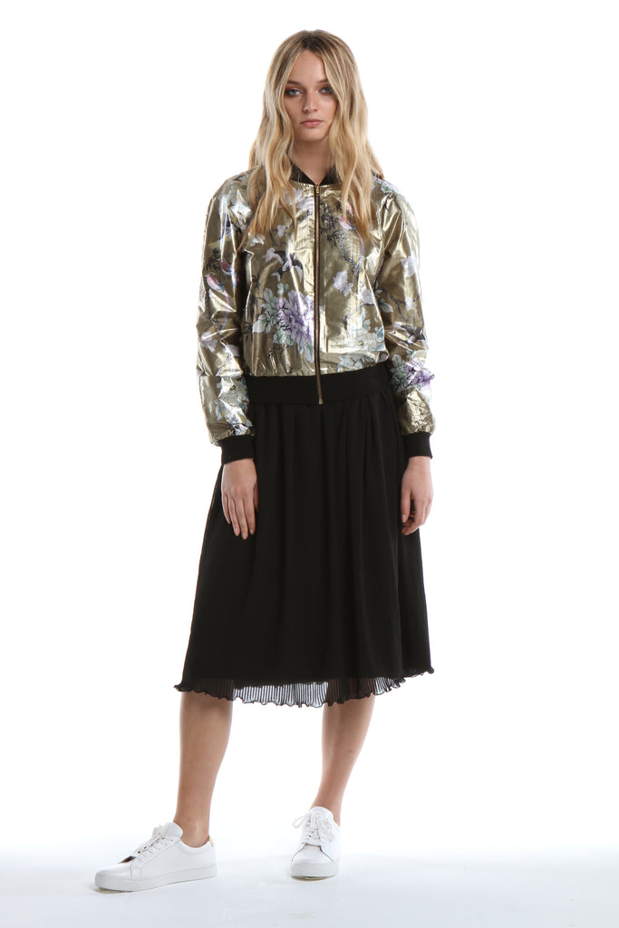 Bomber Jacket in Gold Chinoiserie