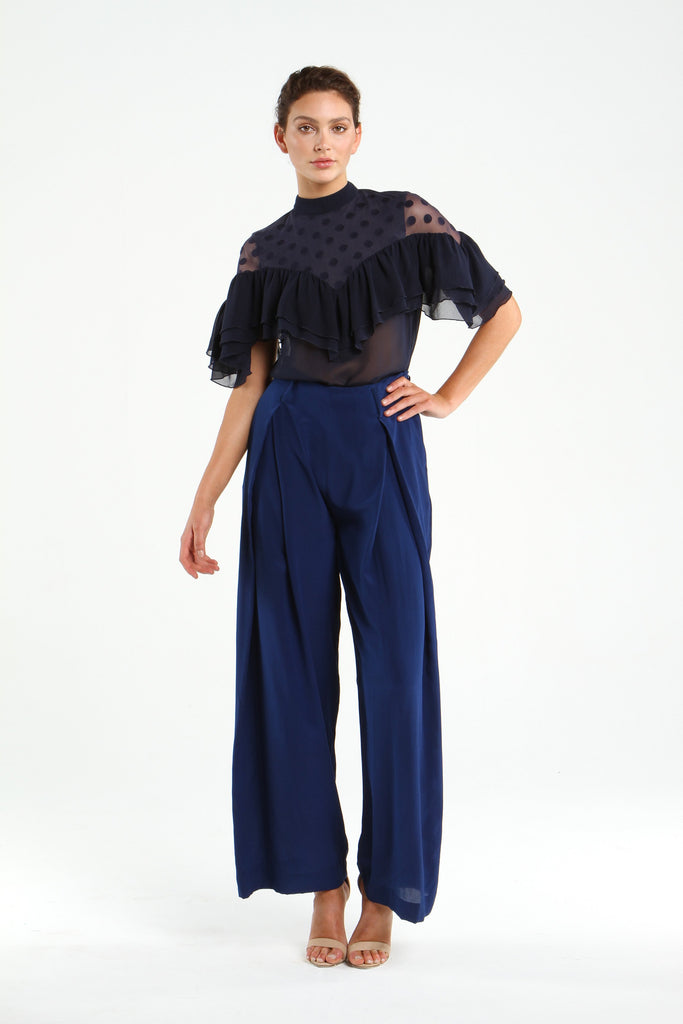 Silk Culottes in NAVY