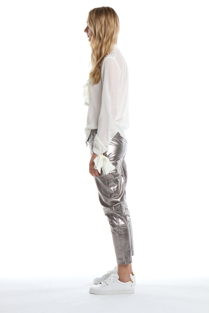 Leather Pants in Silver Metallic