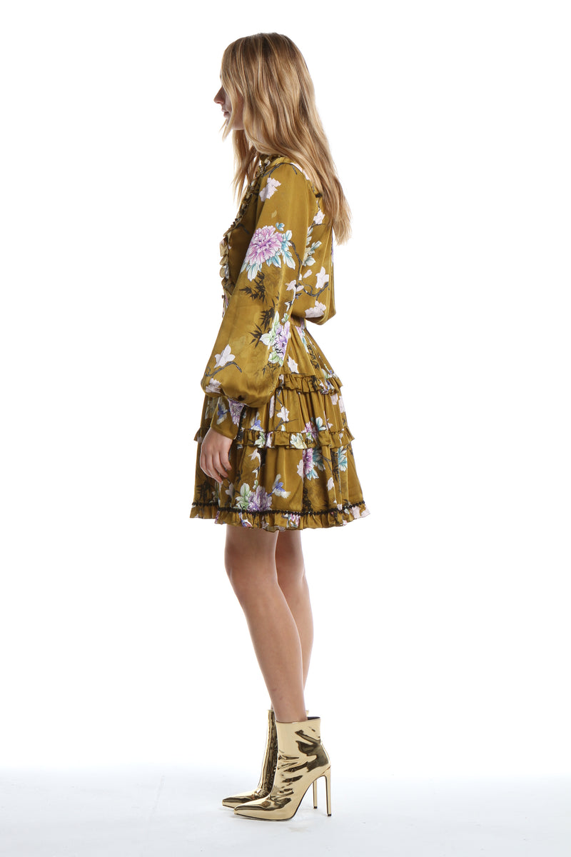 Silk Ruffle Dress in Gold Chinoiserie
