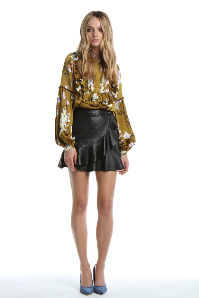 Ruffle Blouse in Gold Chinoiserie