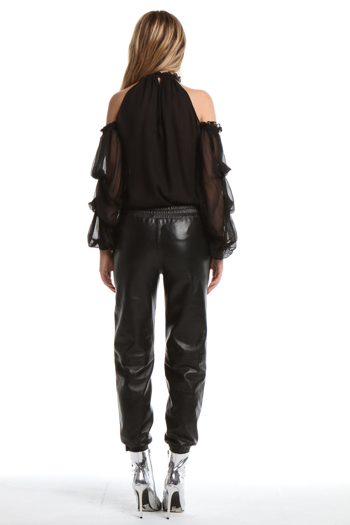 Draped Sleeve Blouse in Black