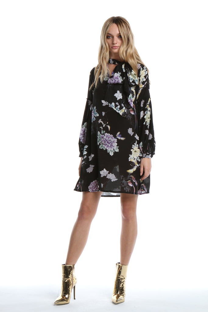 Shirt Dress in Black Chinoiserie