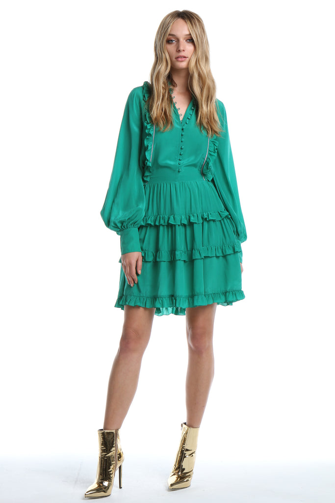 Silk Ruffle Dress in Emerald