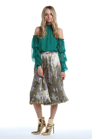 Draped Sleeve Blouse in Emerald
