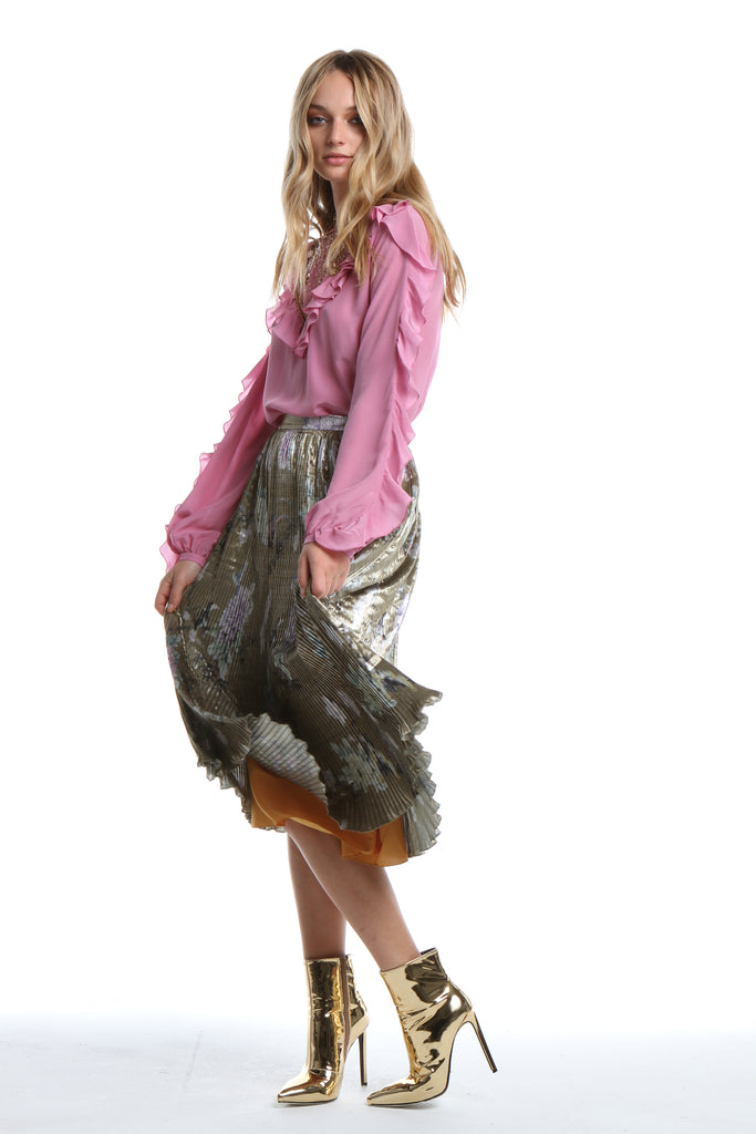 Embellished Blouse with Frill in Orchid Smoke