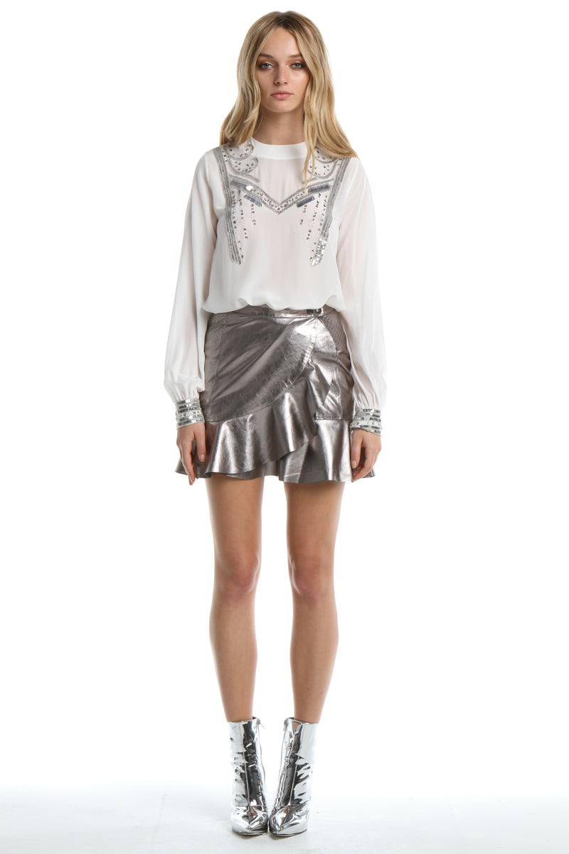 Leather Skirt in Silver Metallic