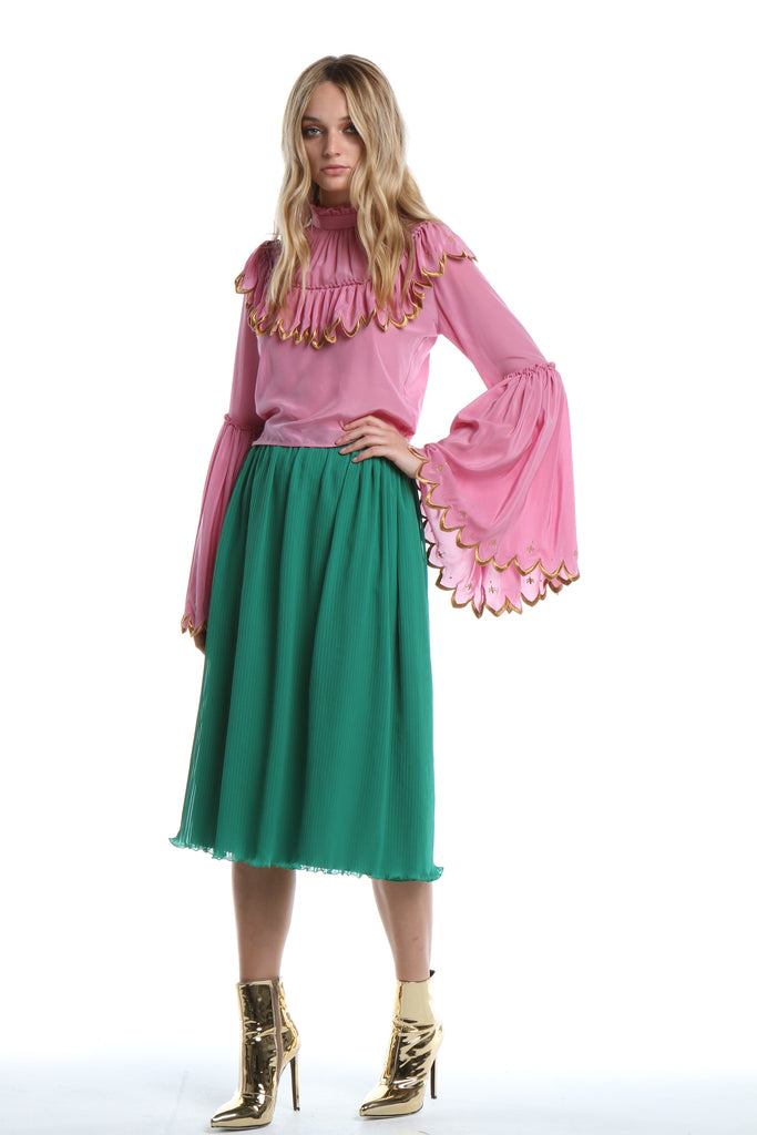 Pleated Skirt in Emerald