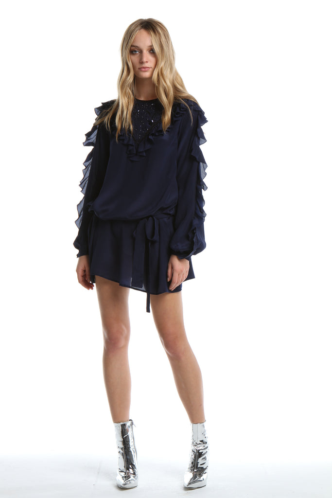 Embellished Dress with Frill in Navy