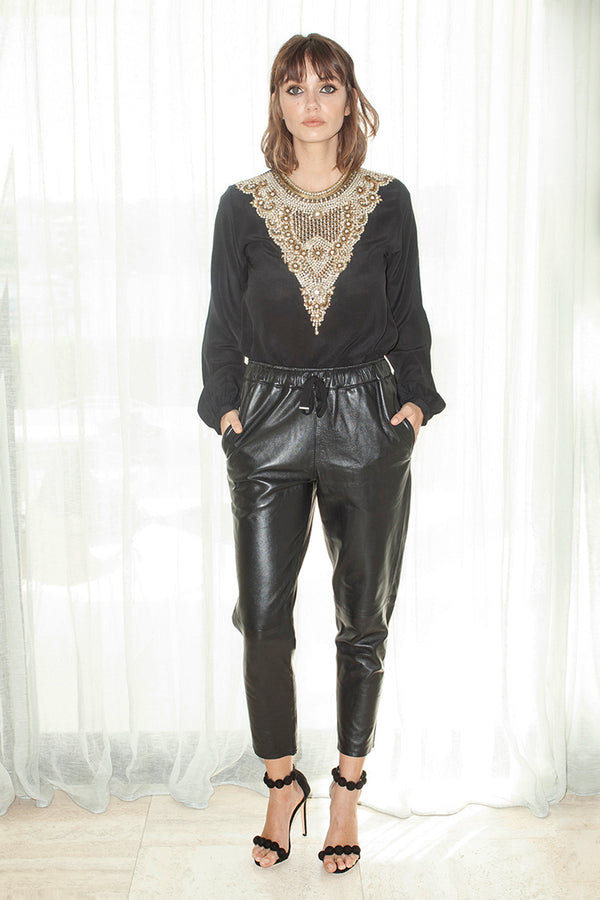 Embellished Blouse in Black - Boat Neck