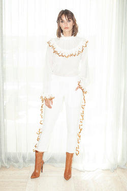 Rose Gold Embroidered Capri Pants
