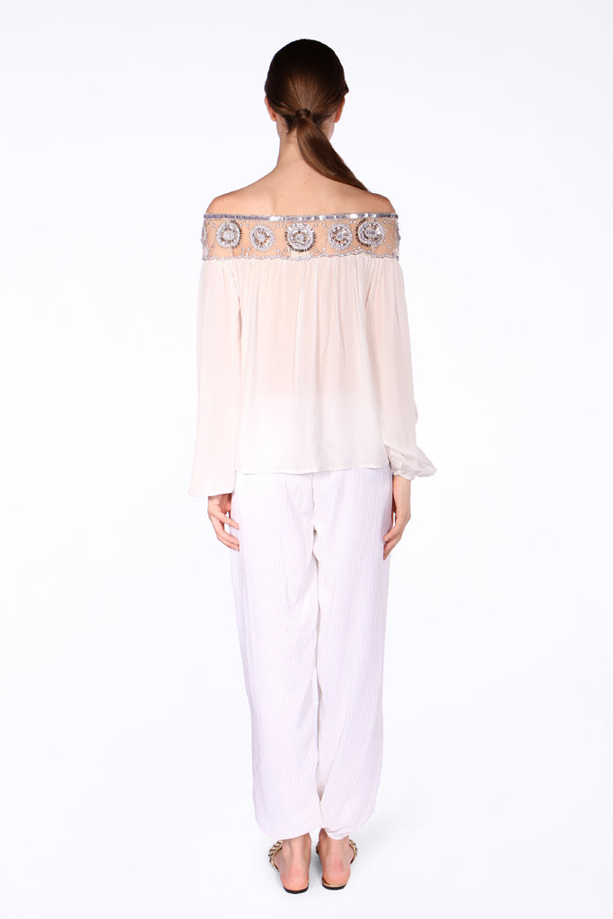Pleated Harem Pants - White