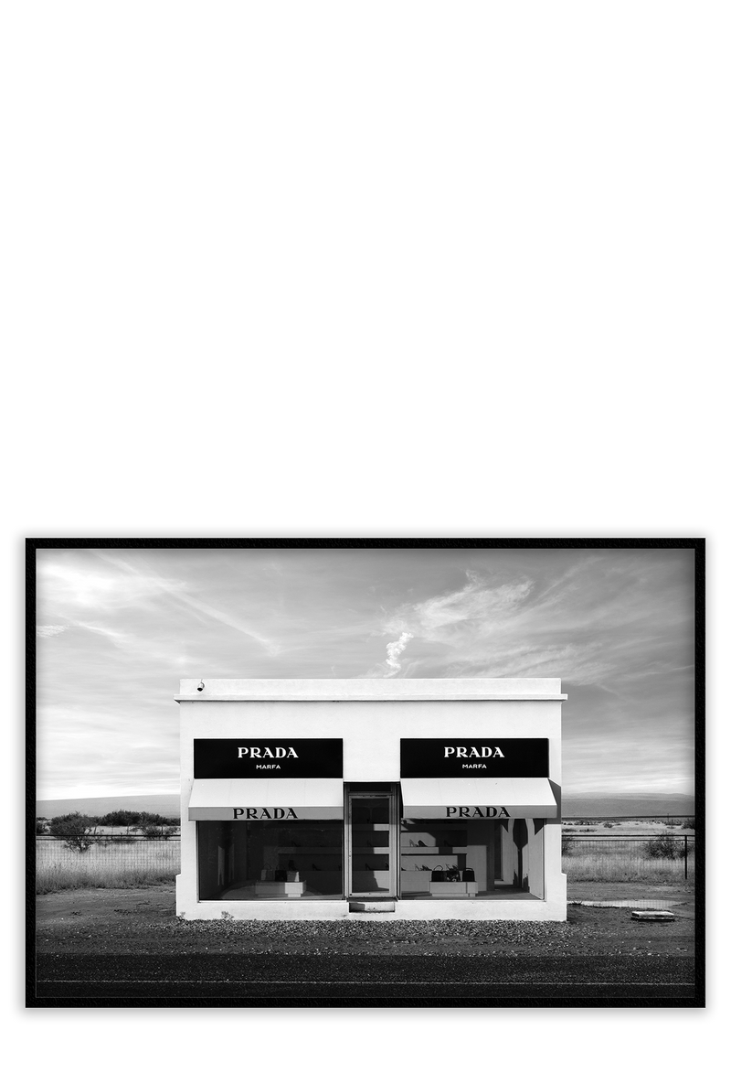 A photographic image of  Print Prada Marfa Texas in black and white framed art print wall decor