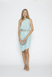 Aqua Five Ways LONG DRESS with Jewel-Encrusted Sash
