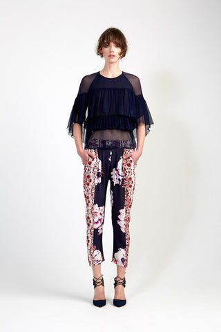 Capri Pant in Red Navy Chinoiserie