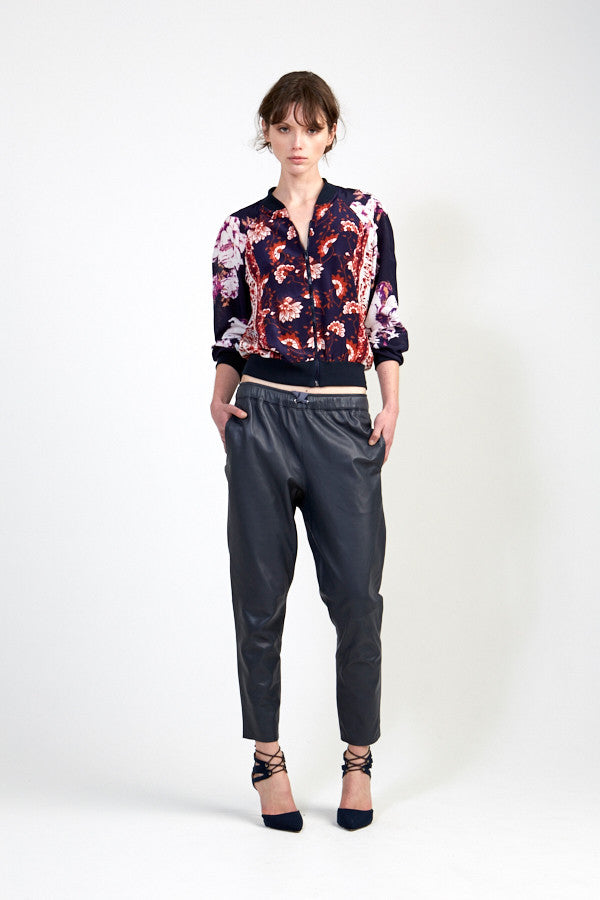 Relaxed Rebel Leather Pant in Charcoal