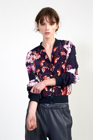 Silk Bomber Jacket - Navy Floral Red Chinoiserie