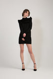 Knitted Ruffle Dress - Black
