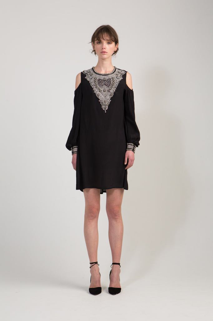 Embellished Dress with Cut Out Shoulders - Black