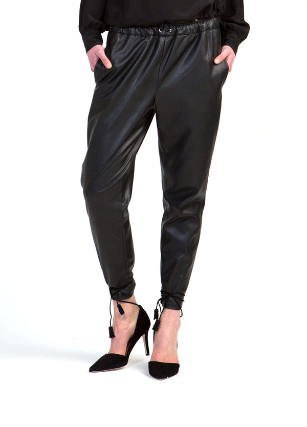 Coco Ribbon Relaxed Leather Pants in Black