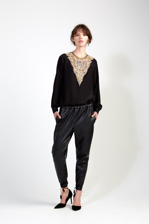 Multicoloured Embellished Blouse - Black