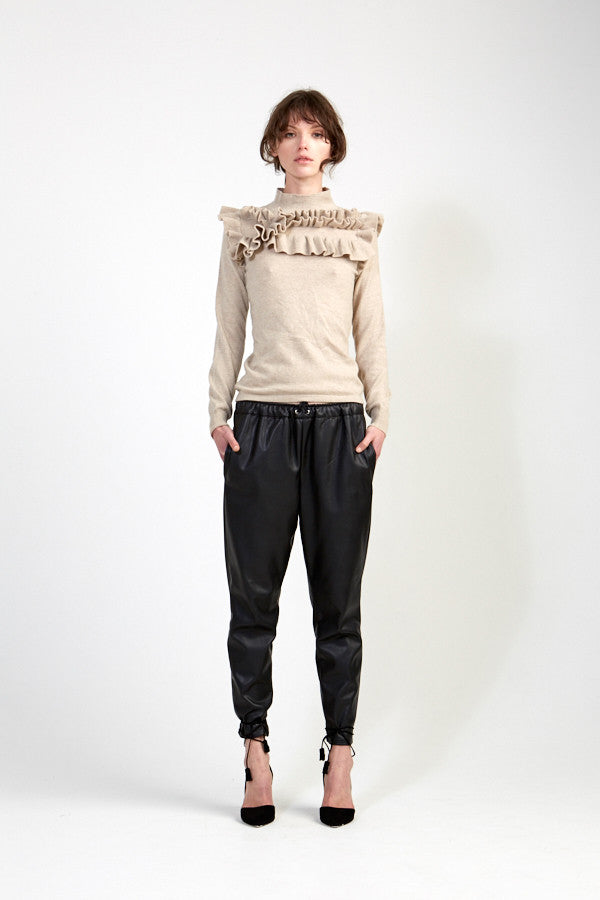 Knitted Ruffle Sweater - Oatmeal
