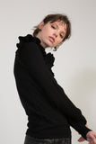Knitted Ruffle Sweater - Black