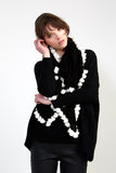 Naomi Tassel Scarf in Black and White