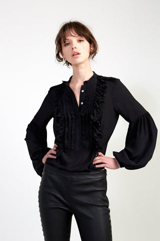 Ruffle Front Blouse - Black