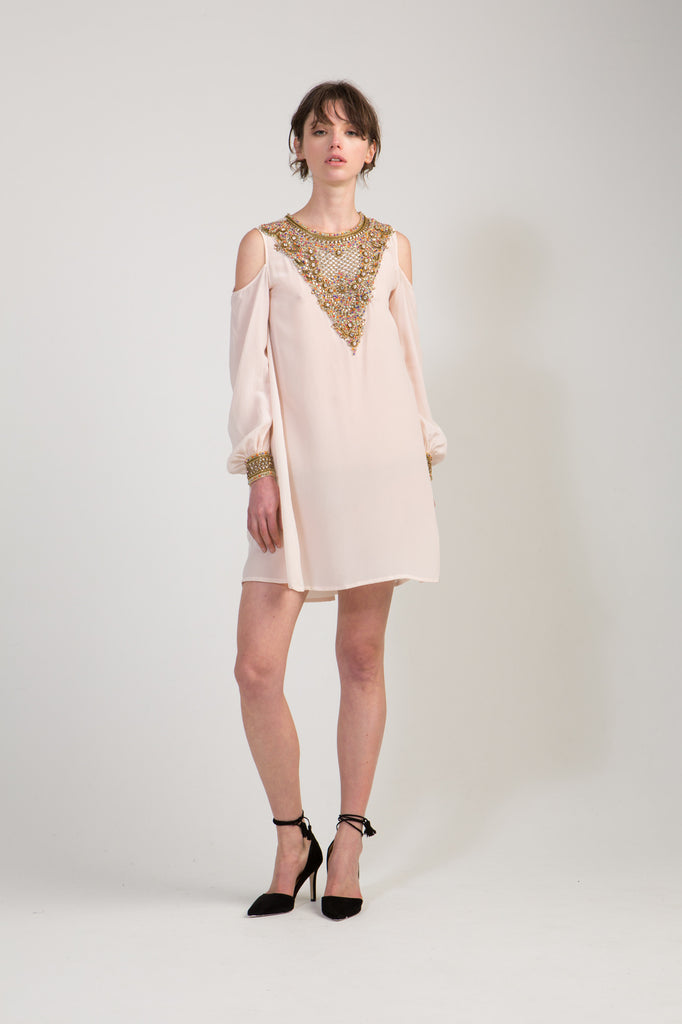 Embellished Dress with Cut Out Shoulders - Blush
