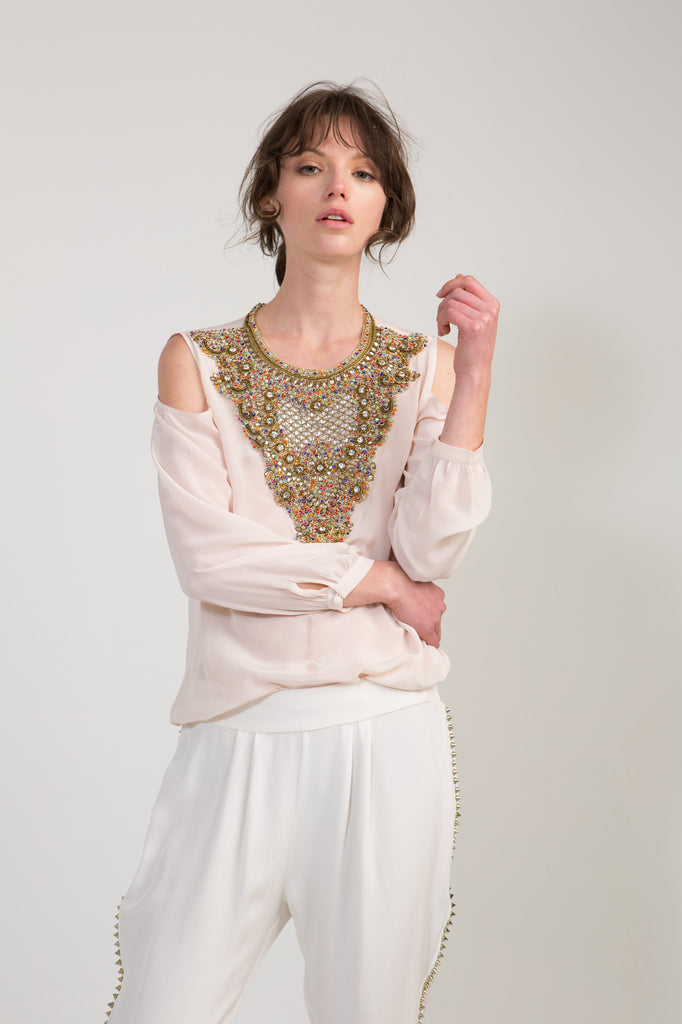 Embellished Blouse with Cut Out Shoulders Blush
