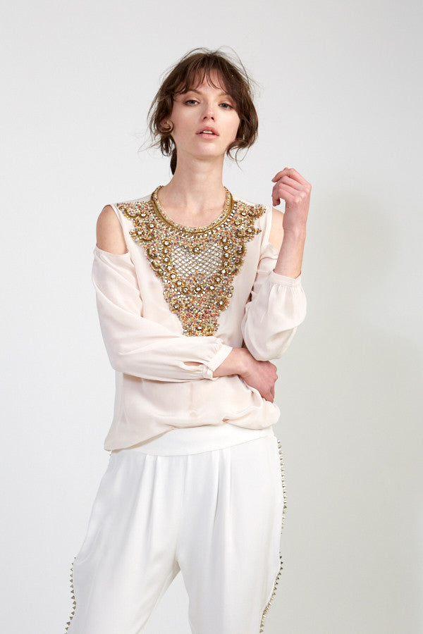 Embellished Blouse with Cut Out Shoulders