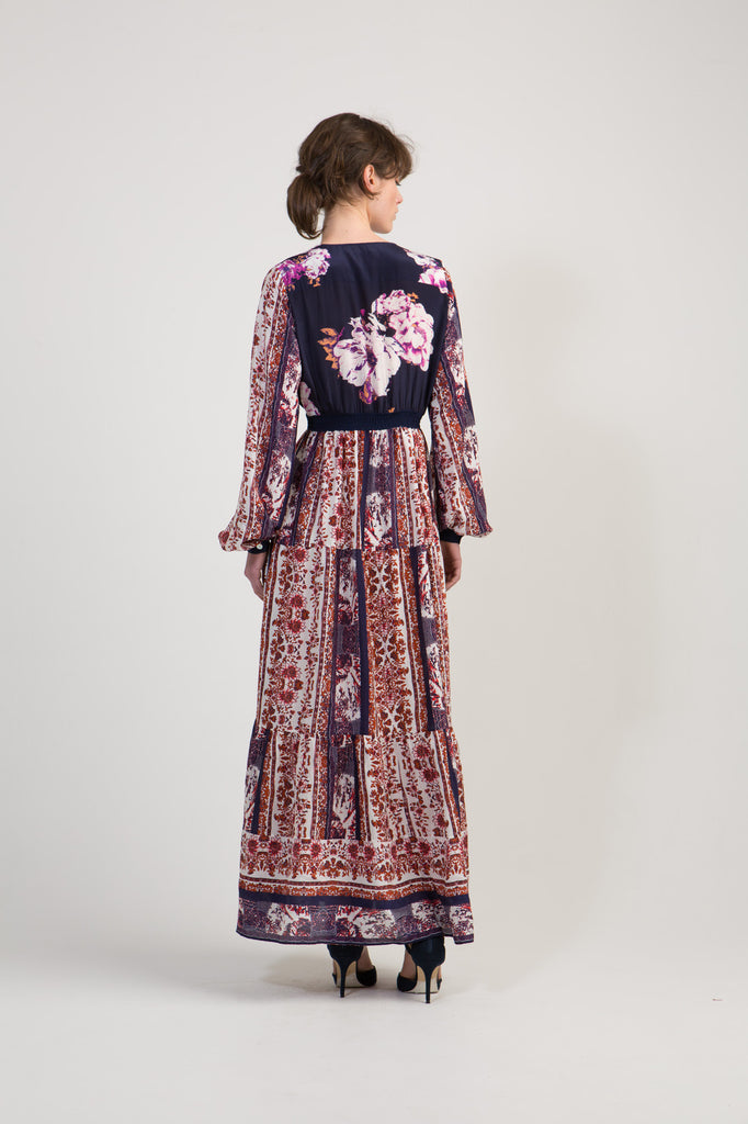Silk Peasant Maxi Dress