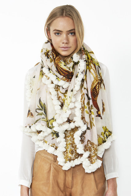 Gold Peacock Cashmere Scarf