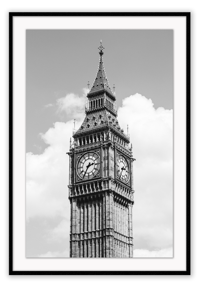 Big Ben Architecture Black And White London Uk Clock  Print Wall Print Framed Art Poster Image Online Photo Painting Living