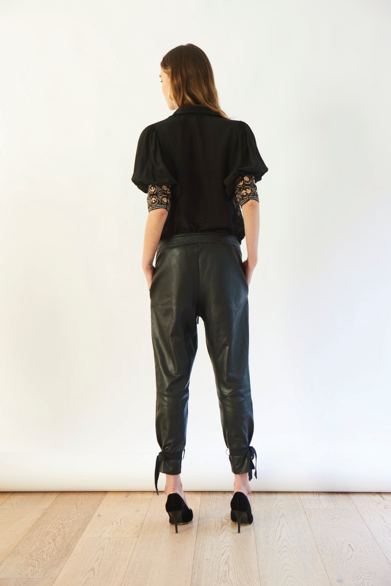 Selina Leather Pants in Black