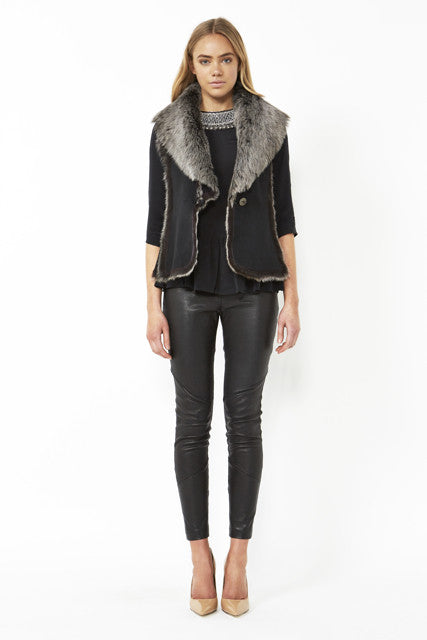 Classic Shearling Vest in Charcoal
