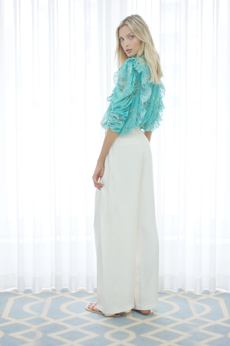 Songbird Ruffle Blouse in Biscay Green