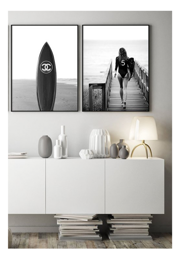 Gisele Bundchen Surf Surf Board Chanel Chanel N5 Fashion Model  Print Wall Print Framed Art Poster Image Online Photo