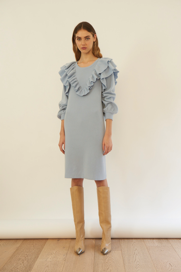 Sharlott Cashmere Dress in Baby Blue