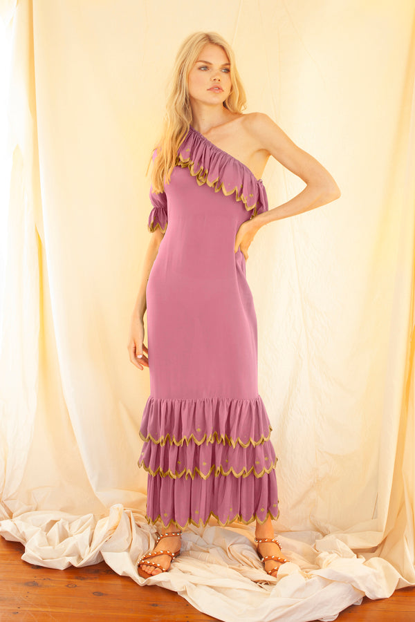Aarons Maxi Dress in Pink and Gold