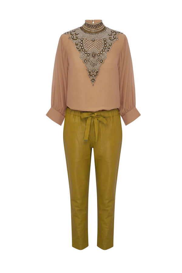 Mustard Relaxed Leather Pants