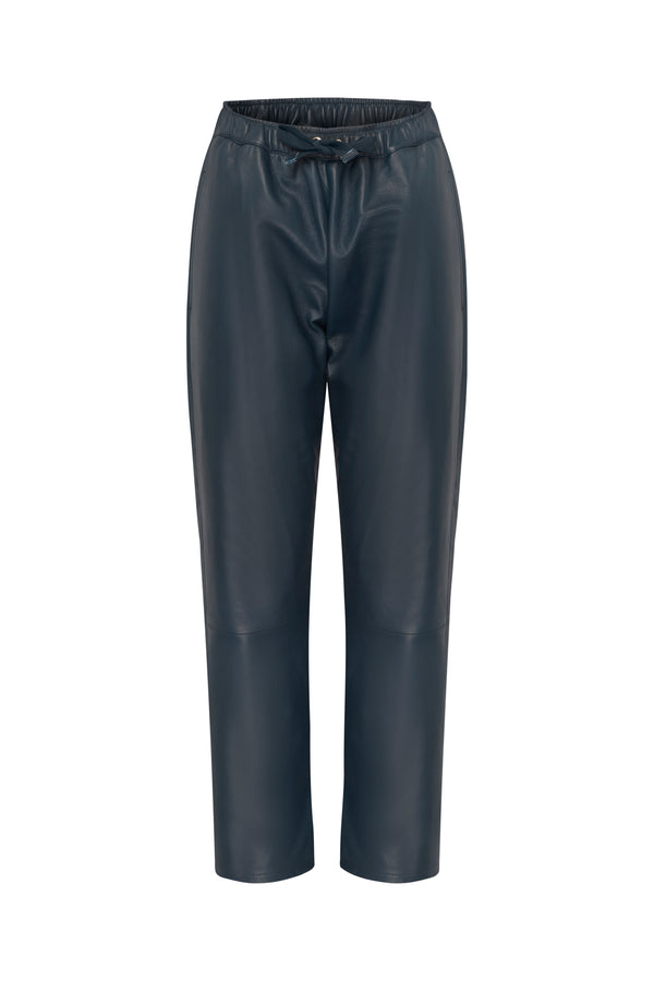 Selina Leather Pants in Navy