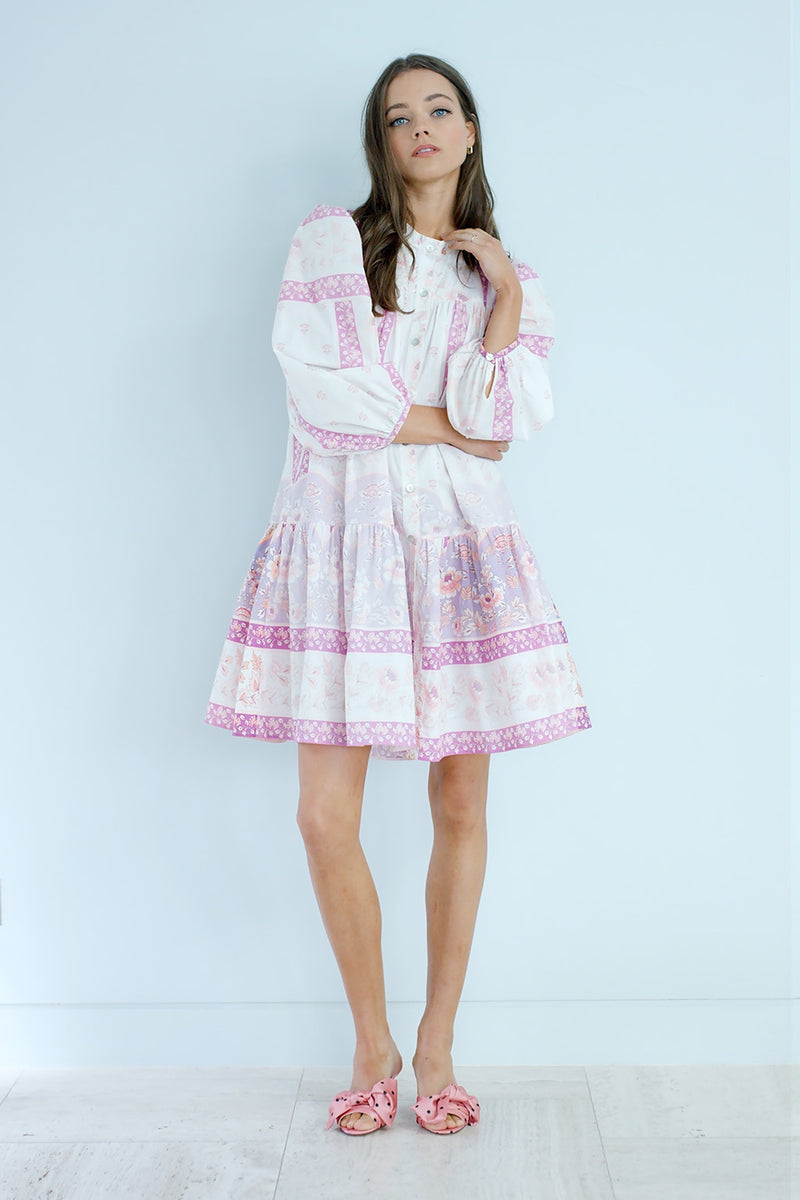 Folklore Midi Dress in Pink