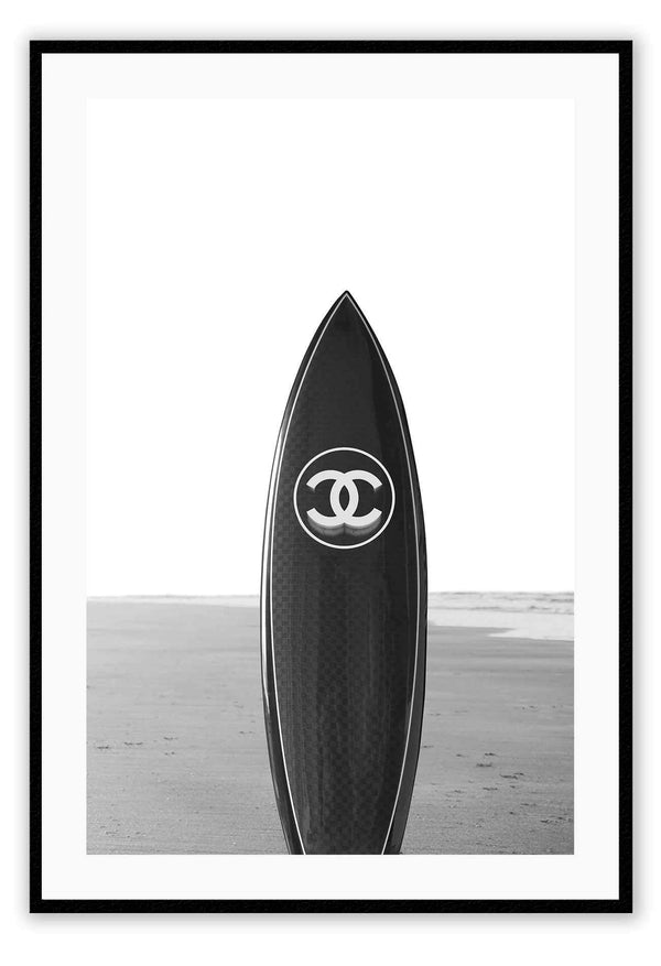 Coco Chanel Chanel Logo Surf Beach Sand Fashion Label Fashion Icon Print Wall Print Framed Art Poster Image Online Photo