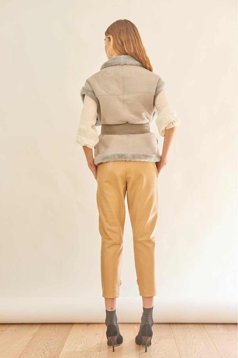 Sibella Shearling Vest in Light Grey
