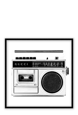 Gucci Recorder Cassette Fashion Fashion Label Gucci Black And White Print Wall Print Framed Art Poster Image Online Photo