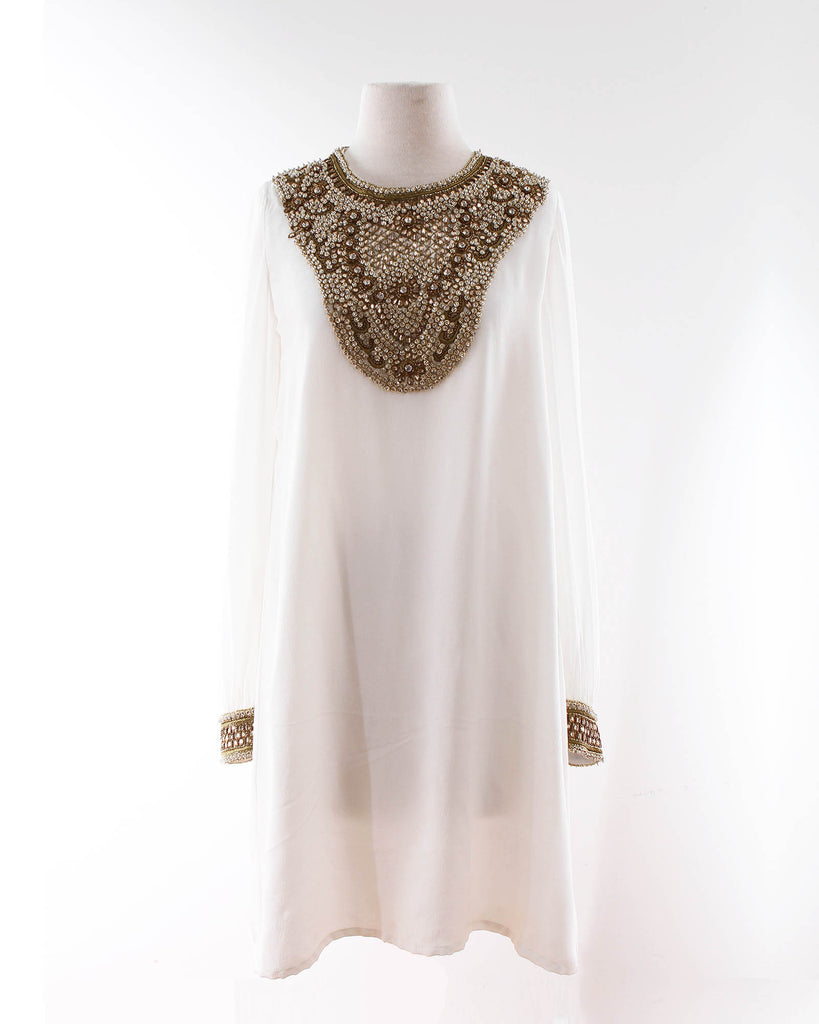 Embellished Dress in Ivory